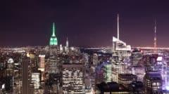 Bird view on night light manhattan 4k time lapse from nyc Stock Footage