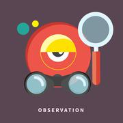 icon in flat design for observation and monitoring - stock illustration