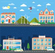 City scene in day and night Stock Illustration