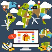 internet shopping process and delivery - stock illustration