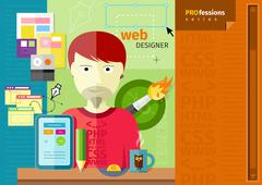 male web designer with tablet on workplace - stock illustration
