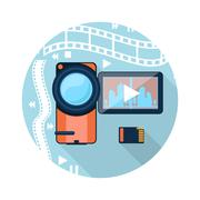 video camera with cinema tape on background - stock illustration