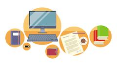 top view laptop, papers with document - stock illustration