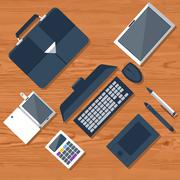 top view of workplace with laptop and devices - stock illustration