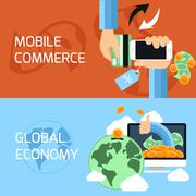 concept for mobile commerce and global economy - stock illustration