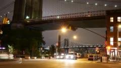 Under brooklyn bridge night light crossroad 4k time lapse nyc Stock Footage