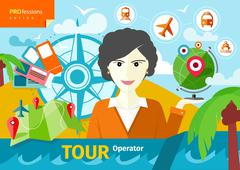 Female travel agent holding globe with pointers Stock Illustration