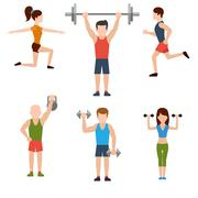 exercises with weights and warm-up icons - stock illustration