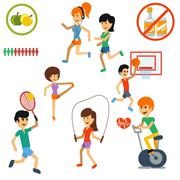 Icon set for active lifestyle, sport, nutrition Stock Illustration