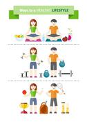 concept of healthy lifestyle and wellbeing - stock illustration