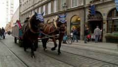 Horse Drawn Wagon on Cobblestone Street in Munich Germany Stock Footage