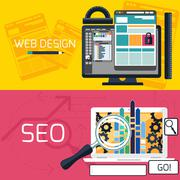 seo optimization and web design banners - stock illustration