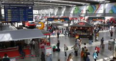 UHD 4K Munich Railway Train Station Crowd Movement Passenger Travel People Ride Stock Footage