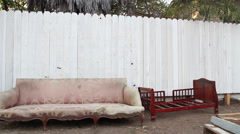 Urban Landscape with Couch Los Angeles, CA Stock Footage
