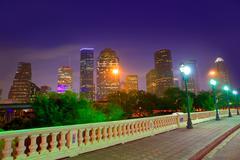 Houston skyline at sunset  sabine st texas usa Stock Photos