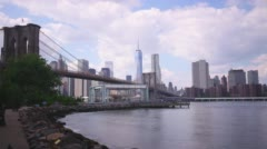 Brooklyn bridge panorama 4k time lapse from nyc usa Stock Footage