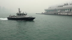 Police ship, Harbour of Hong Kong 2013-Dan Stock Footage