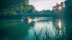 Sunset romantic boating in central park 4k time lapse from new york Stock Footage