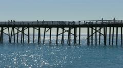 Malibu Pier Telephoto Stock Footage
