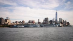 Downtown new york ferry dock 4k time lapse from usa Stock Footage