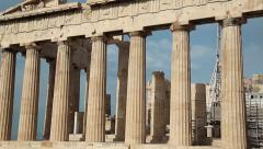 Columns of Parthenon - antique temple in Athenian Acropolis in Greece Stock Footage