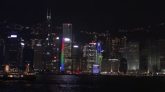 Hong Kong night City in Victoria Harbour 2013-Dan Stock Footage