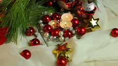 Christmas Candles With Colorful Ornaments Stock Footage