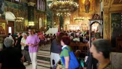 People inside Panagia Deksia Church in Thessaloniki, Greece Stock Footage