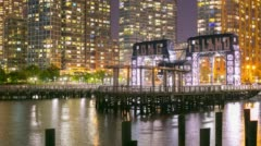 Night light long island pier 4k time lapse from new york Stock Footage