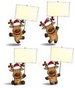 christmas elks placard - stock illustration