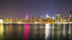 Colored reflection manhattan night life 4k time lapse from nyc Stock Footage