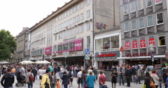 Ultra HD 4K UHD Popular Location Munich Shopping Street Famous People Walk Visit Stock Footage
