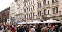 UHD 4K People Walking Shopping Busy Street City Munich Restaurant Bar Store Shop - stock footage