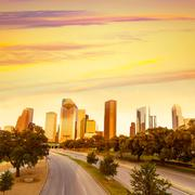 Houston skyline sunset from allen pkwy texas us Stock Photos