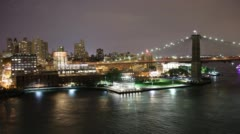 Brooklyn bridge view 4k time lapse from manhattan nyc Stock Footage