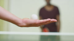 Slow motion close up serve of a ping pong in table tennis Stock Footage