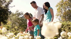 Family walking in park with white flowers in foreground. Stock Footage