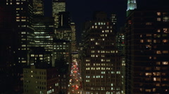 World Trade Center Twin Towers at Night w tilt up Stock Footage