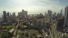 Buildings in the main city of Panama called the cinta costera Stock Footage