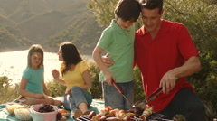 Dolly shot of family having barbecue picnic by lake in countryside. Stock Footage