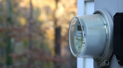 Residential Electrical Meter on the Side of a House Stock Footage