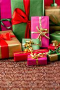 plenty of presents crammed into one shot. - stock photo