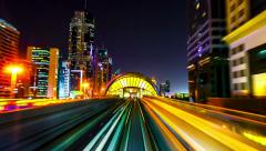4K TimeLapse - night view Dubai metro - stock footage
