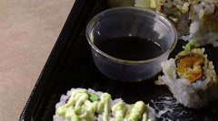 Stock Video Footage of Eating Japanese sushi with chopsticks