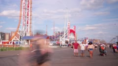 Coney island pier park 4k time lapse from new york city Stock Footage