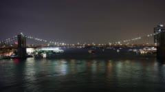 Brooklyn bridge night light life 4k time lapse from new york Stock Footage