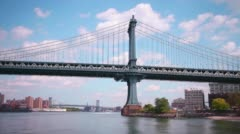 Manhattan bridge brooklyn park view 4k time lapse from new york Stock Footage