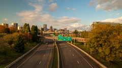 Time Lapse of Rush Hour Traffic on I5 Highway with Portland OR Skyline Autumn Stock Footage