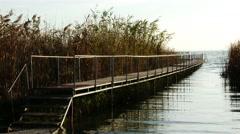4K Small Pier at Autumn Lake Balaton Hungary 1 Stock Footage