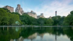 Dusk central park view 4k time lapse from new york Stock Footage